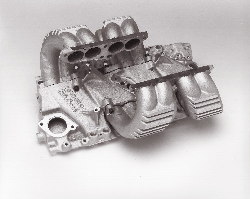 Edelbrock High-Flo T P I  Intake Manifold - Chevy Small Block, Satin